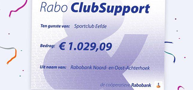 Rabobank ClubSupport levert mooi bedrag op