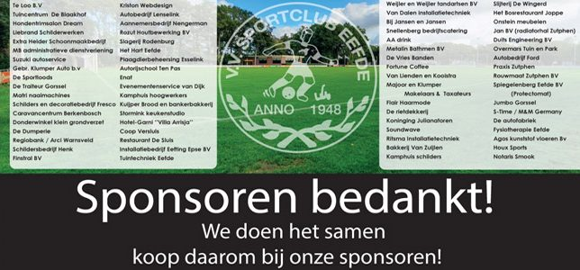 Sp. Eefde bedankt sponsors